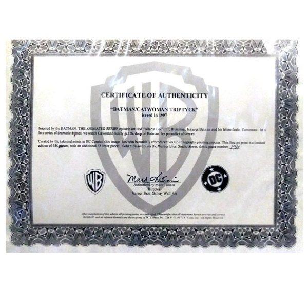 Batman Catwoman Triptych Art authenticity certificate
