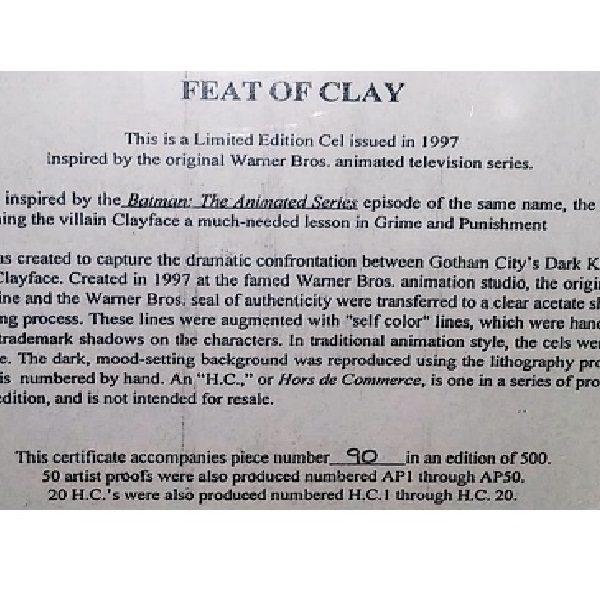 Clayface Batman Series Cel certificate close up
