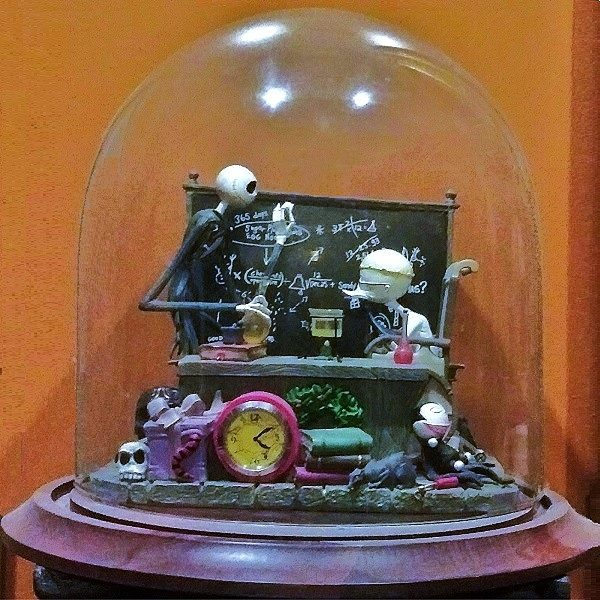 Nightmare Before Christmas Desk Clock in dome display case