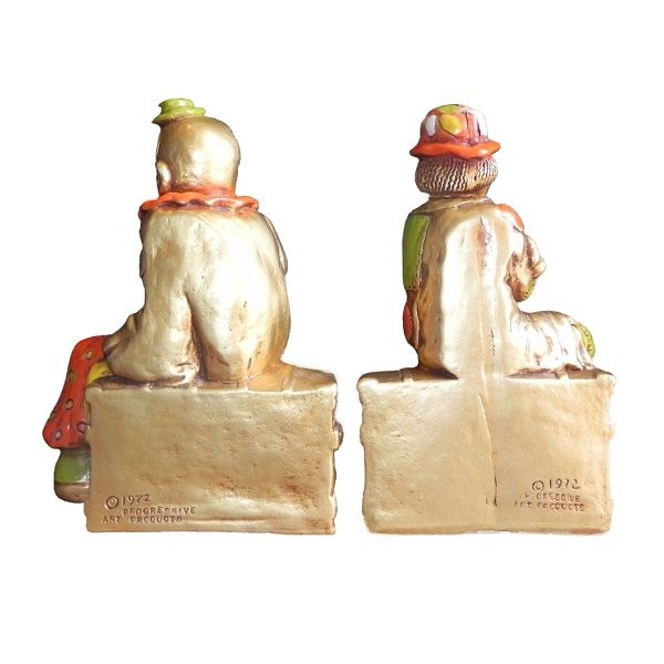 70s Hobo Tramp Clowns Bookends back view