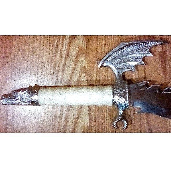 Medieval Jagged Dragon Sword hilt close up
