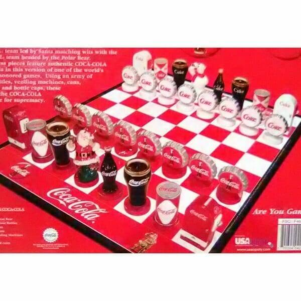 Coca-Cola Collector Edition Chess Set chessboard close up