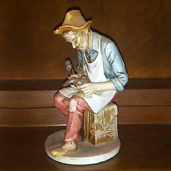Vintage Cobbler Figurine side view