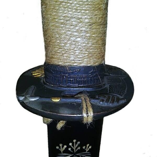 Black Katana Samurai Sword guard view