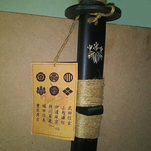 Black Katana Samurai Sword scabbard close up 3