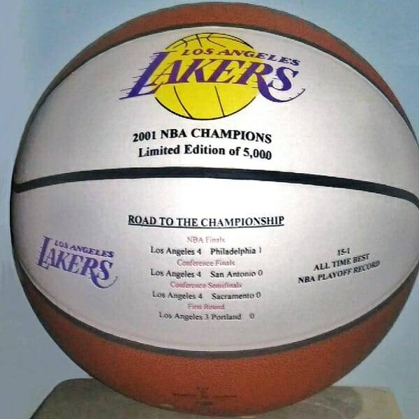 Lakers Win 2001 Basketball front view