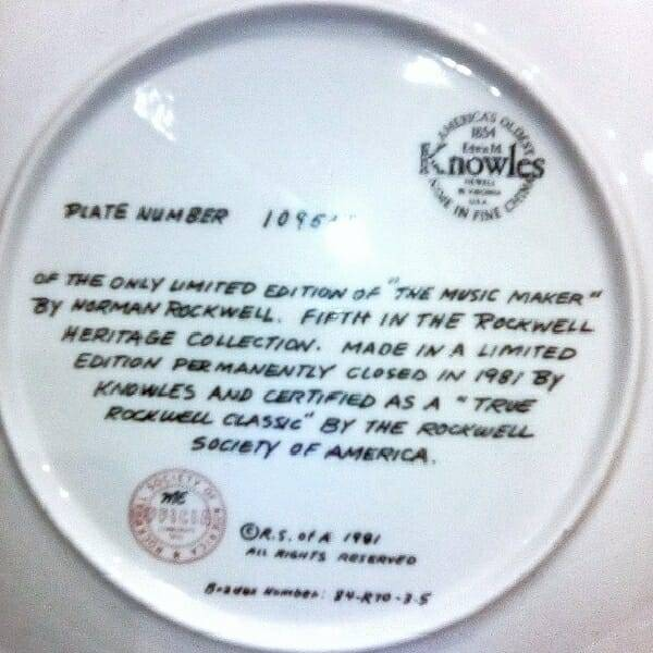 Rockwell Making Music Plate back view