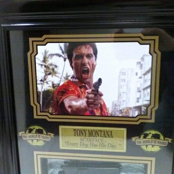 Scarface Framed Memorabilia Tony Montana close up