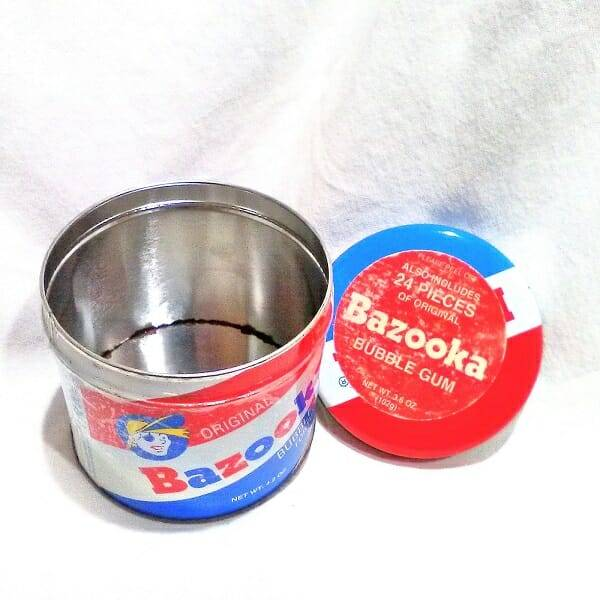 Bazooka Bubble Gum Tin open