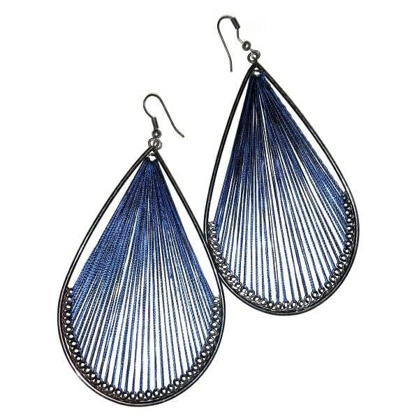 Blue Twine Teardrop Earrings