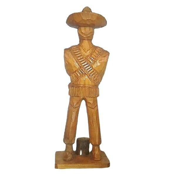 Wood Pancho Villa Figurine back view