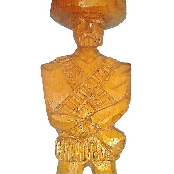 Wood Pancho Villa Figurine close up