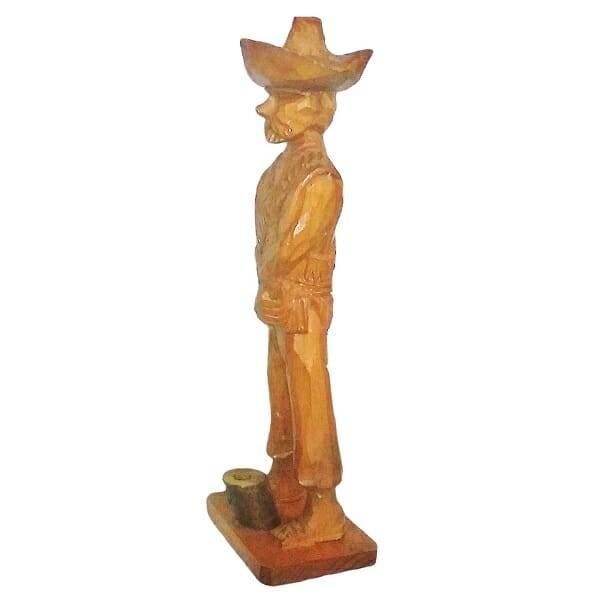 Wood Pancho Villa Figurine side view