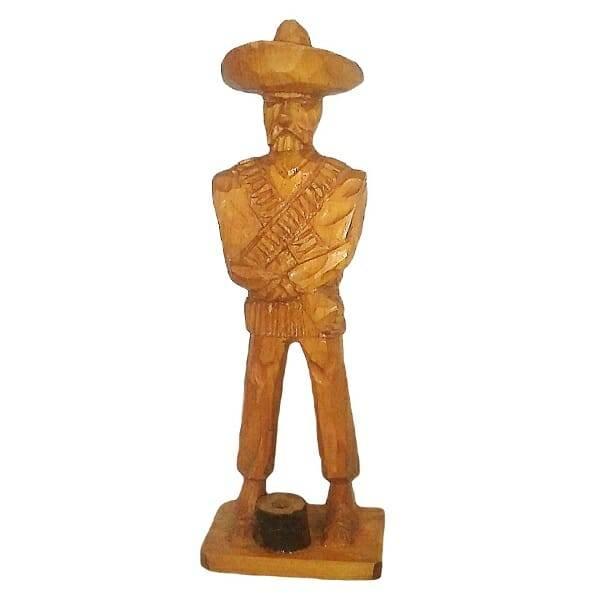 Wood Pancho Villa Figurine
